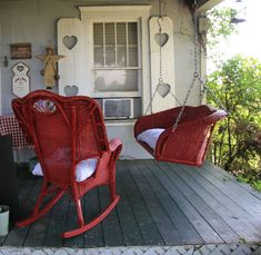 Down-home country style porch with a big punch of RED