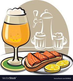 Beer and sandwich with salmon Royalty Free Vector Image Free Vector Images, Vector Free, Fruit Sketch, Cookie Vector, Small Canvas, Canvas Art, Airplane Vector, Ship Vector, Pink
