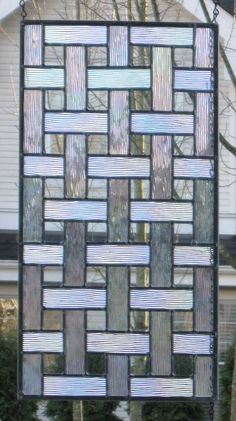 Stained Glass Window Panel Basketweave 12 x 22