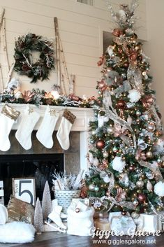 Create a winter wonderland with this Glam Metallic Farmhouse Christmas Tree. Michaels Dream Tree Challenge