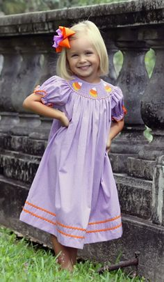 Smocked Candy Corn Bishop Dress Purple Gingham from Smocked Auctions