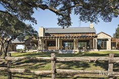 Modern-rustic barn style retreat in Texas Hill Country - we are open to other options besides white exterior. Hill Country Homes, Texas Hill Country, Country House Plans, Barn Style House Plans, Pergola Metal, Metal Roof, Cabana, Rustic Exterior, Stone Exterior