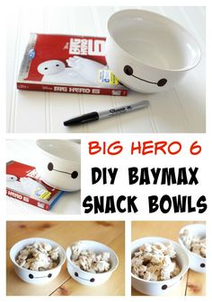 Big Hero 6: DIY Baymax Snack Bowls #BigHero6MovieNight #ad #cbias