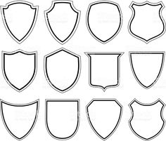 Set of shield icons Shape Design, Logo Design, Shield Drawing, Community Helpers Preschool, Shield Icon, Medieval Crafts, Badge Template, Shield Design, Wood Carving Patterns