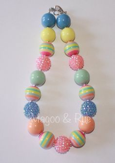 Easter or Spring Chunky Bead Necklace with Pastels on Etsy, $16.00 Magoo & Rue