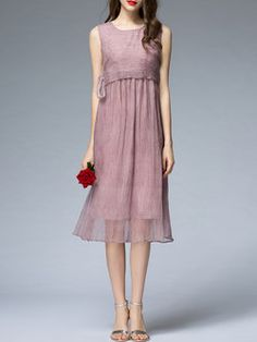 Coffee Plain Sleeveless Midi Dress
