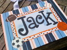 Goes great with my sports theme for the classroom.  custom painted whole name canvas   sports theme by misspokadot, $35.00