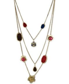 Betsey Johnson Gold-Tone Owl and Multicolor Bead Illusion Necklace - Fashion Jewelry - Jewelry & Watches - Macy's