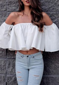 Loose cropped tops like this picture-perfect white off-shoulder flare crop top are definitely a favorite among the ladies.