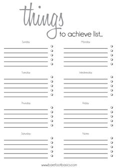 To Do List Template | Rochelle Stone – Barefoot Basics – Soul Inspired Communication and ...