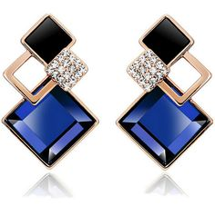 Новые модные роскошные Brincos Свадебные украшения большой синий серьги золотые Цвет с кристально квадратных Серьги гвоздики для женщин Подарки DGN0035 купить на AliExpress