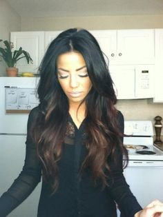 Jet black hair with chocolate brown ombre look..been stocking this blog love this look..blonde may be too much for me , this is perfect for my first DIY ombre!  Oh my goodness gracious. Love this! Wouldn't have to cut my hair off & wouldn't be as much upkeep as blonde! Yay!