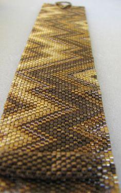 Golden Bronze Abstract Peyote Cuff / Peyote Bracelet by SandFibers