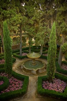Garden and Fountains of Alhambra in Granada, Spain.