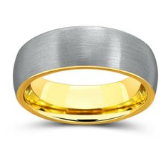Men's 18K yellow gold tungsten wedding ring designed with a silver brushed top. See more here: https://northernroyal.com/collections/brushed-tungsten-rings/products/18k-gold-tungsten-wedding-ring-18k-gold-wedding-rings-gold-tungsten-wedding-ring-yellow-gold-tungsten-ring-tungsten-gold-ring-7mm-18k