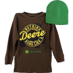 "John Deere ""Nothing Runs Like a Deere"" Brown Thermal Shirt & Beanie Hat Set 8-14/16 (L (14/16)) John Deere http://www.amazon.com/dp/B00A79NZD8/ref=cm_sw_r_pi_dp_aZn5tb0GTNX6H"