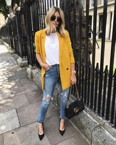 80 Denim & Jeans Outfit Trends for Women in Spring 2019 Jean Outfits, Casual Outfits, Fashion Outfits, Womens Fashion, Yellow Blazer Outfits, Casual Blazer, Yellow Jacket Outfit, Blazer Fashion, Fashion Fashion