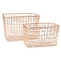 Copper Home Accessories Wire Baskets - Copper Wire Basket Magazine Post Stairs Storage Crate Vintage Metal Mesh Hamper. Wire Basket Storage, Wire Storage, Crate Storage, Stair Storage, Wire Baskets, Kitchen Storage, Cageots Vintage, Style Vintage, Wire Mesh