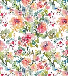 Watercolor Flowers Fabric Pattern.