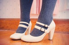 Double strap Mary Janes. Winter white.