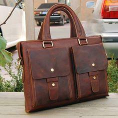 """Image of Vintage Handmade Crazy Horse Leather Briefcase Messenger 13"""" 14"""" Laptop / 13"""" 15"""" MacBook Bag (n43)"""