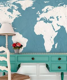 Take a look at this Teal World Atlas Map Adhesive Print by Swag Paper on #zulily today!