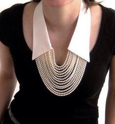 No shirt anymore, only the collar !- No shirt anymore, only the collar ! Love this! – No shirt anymore, only the collar ! Love this! Jewelry Accessories, Fashion Accessories, Jewelry Design, Fashion Jewelry, Fashion Necklace, Fabric Jewelry, Beaded Jewelry, Jewelry Necklaces, Pearl Necklaces