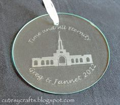 Glass etched ornament with names, year couple married, and building married in.