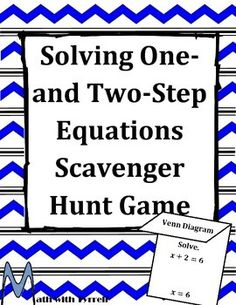 One day TpT sale on Wed, Aug Use the promo code Do you need a fun way for your students to practice solving one- and two-step equations? This scavenger hunt format is a favorite with students and an engagement booster. Math Resources, Math Activities, Fun Math, Creative Teaching, Teaching Math, Two Step Equations, Scavenger Hunt Games, Solving Equations, 7th Grade Math