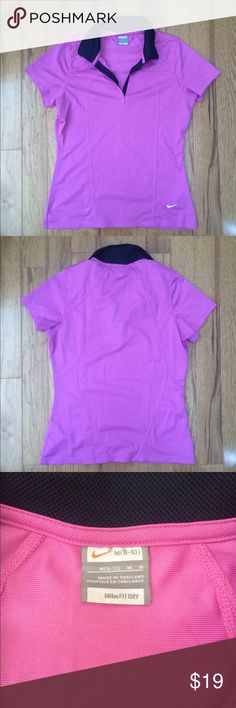 Nike FitDry pink collared tennis shirt Gently used pink tennis shirt matches great with the skirt I have listed. Great condition and the last picture shows its true color. Sorry for the bad lighting! Nike Tops Tees - Short Sleeve