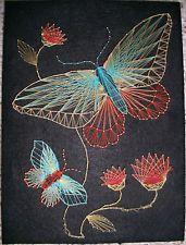 VINTAGE RETRO BUTTERFLIES & FLOWERS ORANGE TURQUOISE STRING ART ON BLACK VELVET