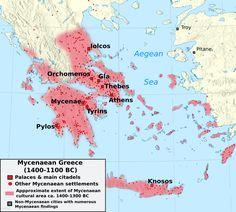 """Mycenaean Greece - Wikipedia, the free encyclopedia"" I chose this image to depict the spread of Greek culture during the Late Bronze Age. Mycenaean, Minoan, Greek History, Ancient History, European History, Stonehenge, Trojan War, Trojan Horse, Fresco"