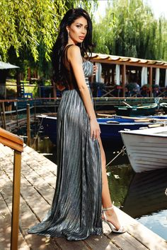 Rochie lunga eleganta din crep argintiu Rn 1997 Atmosphere Fashion, Gray Dress, Playboy, Grey, Skirts, Dresses, Tulle, Gray, Vestidos