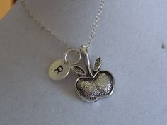 Silver Apple Charm with Initial Necklace by treasuredheros1, $21.00 Teacher gifts for the end of year....
