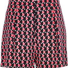 River Island Black Chelsea Girl fluro geometric shorts ($7.46) ❤ liked on Polyvore featuring shorts, sale, black highwaisted shorts, high waisted shorts, black high waisted shorts, highwaisted shorts and river island