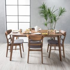 9f4b45243227 Idalia Mid-Century 5-piece Rectangle Dining Set by Christopher Knight Home  Walnut Finish