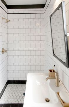 White Shower Tiles With Black Grout - Design photos, ideas and inspiration. Amazing gallery of interior design and decorating ideas of White Shower Tiles With Black Grout in bathrooms, laundry/mudrooms by elite interior designers. Bathroom Trends, Modern Bathroom, Bathroom Ideas, Bathroom Mirrors, Bathroom Designs, Small Bathrooms, Bathroom Cabinets, Lowes Bathroom, Minimalist Bathroom