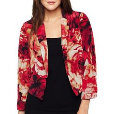 XOXO® Flower-Print Cropped Jacket - jcpenney