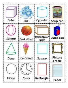 Play memory and learn solid and plane shapes at the same time! Match the solid or plane shape with a real life item that is the same shape. Kindergarten Math Activities, Preschool Math, Fun Math, Maths, Teaching Shapes, Teaching Math, Math Workshop, 1st Grade Math, Elementary Math