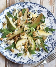 Pear, Blue Cheese & Walnut Salad with Maple Vinaigrette by drizzlealnddrip #Salad #Pear #Maple
