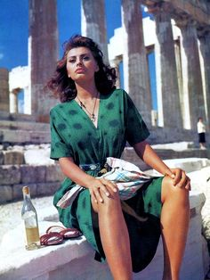 "Sophia Loren  during production of Jean Negulesco's ""Boy on a Dolphin"" (1957)"
