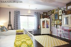 Room Makeover: Shared Room {Paris Themed Room} - This room makeover for a shared room for girls is amazing!!!  I want to move in.