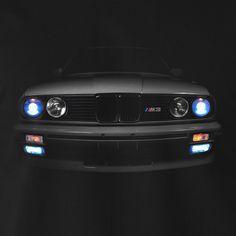 BMW E30 M3 T-Shirt Scheinwerfer Glow 3er Horse Power