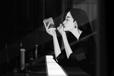 #sketch #drawing #illustrations #artoftheday #doodle #pilot #noir #dailysketch #rockgirl #Gothic #smoking #cigarette #alcohol #drink #comics #instaart