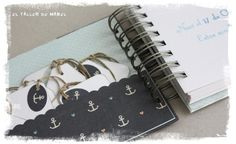 Detalle del mini álbum estilo marinero para el primer cumple de Dilan