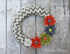 Chevron Burlap Wreath Spring Wreath Summer Wreath by BurlapBlooms