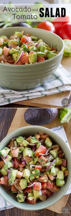 this and caprese salad and Elisabeth and I would be set for the month! Fresh and bright, this Avocado and Tomato Salad is a perfect side dish alongside any Mexican themed meal. It's also a great pot-luck salad! Paleo Recipes, Mexican Food Recipes, Cooking Recipes, Dinner Recipes, Xmas Recipes, Healthy Salads, Healthy Eating, I Love Food, Good Food