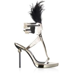 Roger Vivier - Mask Sphere Sandal (113,490 PHP) ❤ liked on Polyvore featuring shoes, sandals, heels, feather heels shoes, feather shoes, ankle wrap shoes, roger vivier and ankle strap sandals