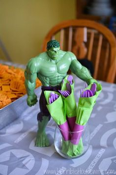 Purple and green Hulk silverware for a MARVEL's The Avengers Age of Ultron Party #AvengersUnite #Ad