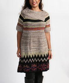 Another great find on #zulily! Khaki & Black Zigzag Split-Cowl Neck Sweater Tunic - Plus by Shoreline #zulilyfinds